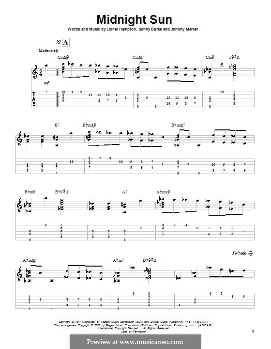 Midnight Sun: For guitar with tab by Johnny Mercer, Lionel Hampton, Sonny Burke