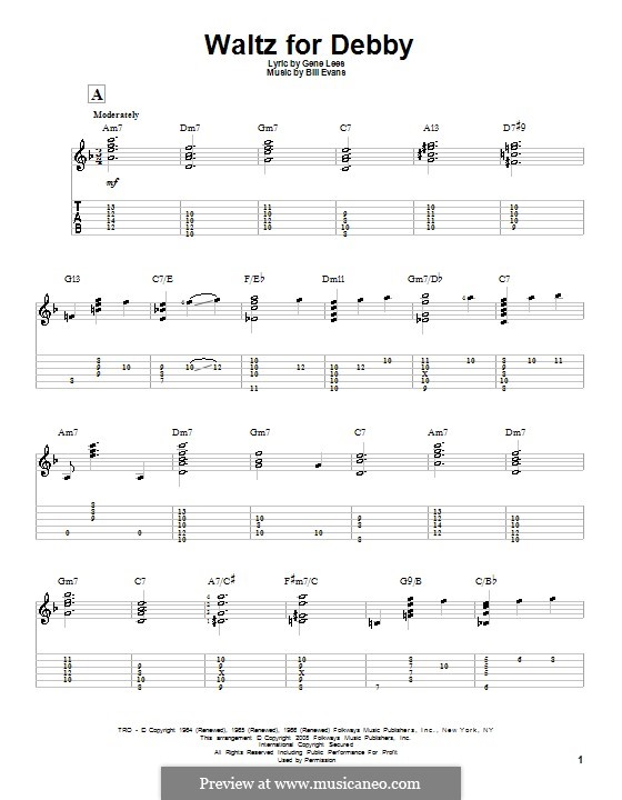 Waltz for Debby: For guitar with tab by Bill Evans
