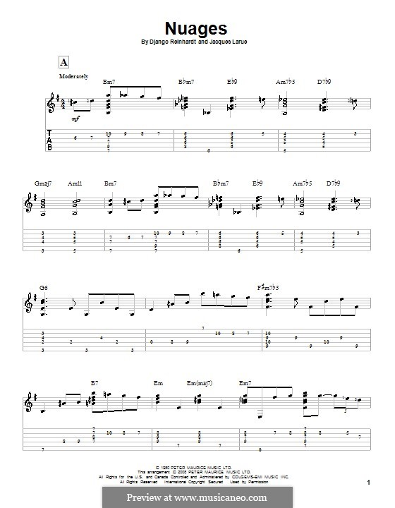 Nuages: For guitar with tab by Jacques Larue