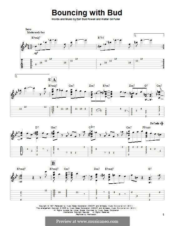 Bouncing with Bud: For guitar with tab by Bud Powell, Walter Gil Fuller