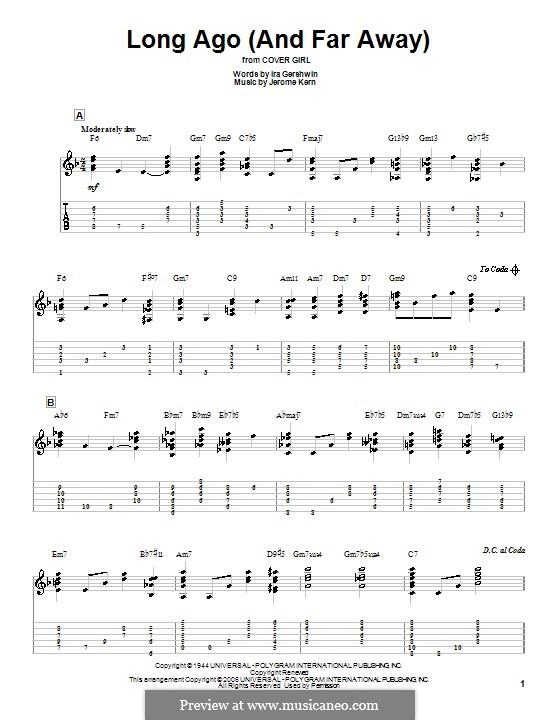 Long Ago (and Far Away): For guitar with tabulature by Jerome Kern