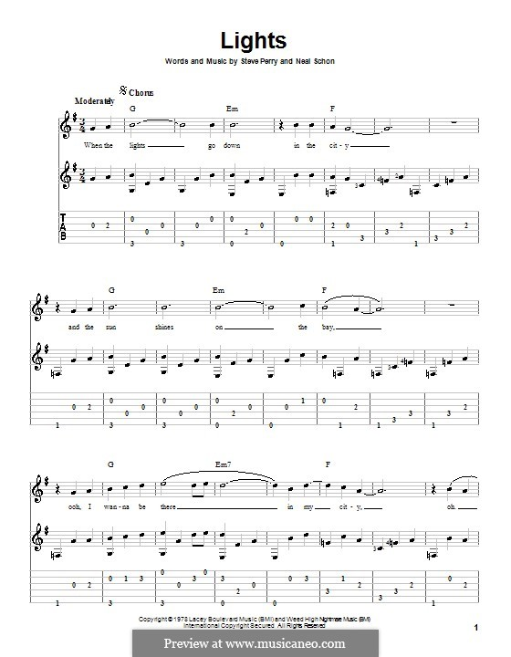 Lights (Journey): For guitar with tab by Neal Schon, Steve Perry