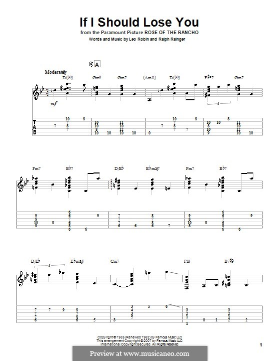 If I Should Lose You (Phineas Newborn): For guitar with tab by Leo Robin, Ralph Rainger