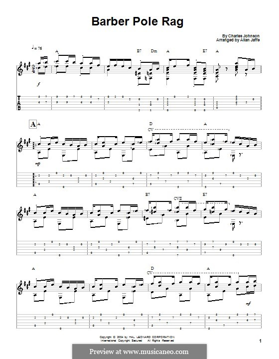 Barber Pole Rag: For guitar with tab by Charles F. Johnson