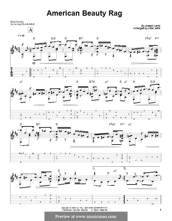 American Beauty: For guitar with tab by Joseph Francis Lamb