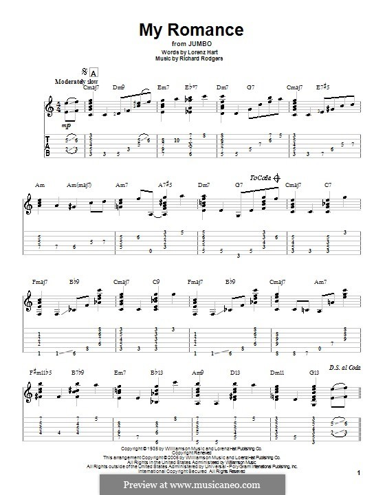 My Romance: For guitar with tabulature by Richard Rodgers