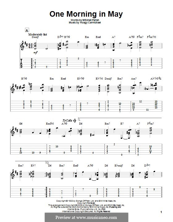 One Morning in May: For guitar with tab by Hoagy Carmichael