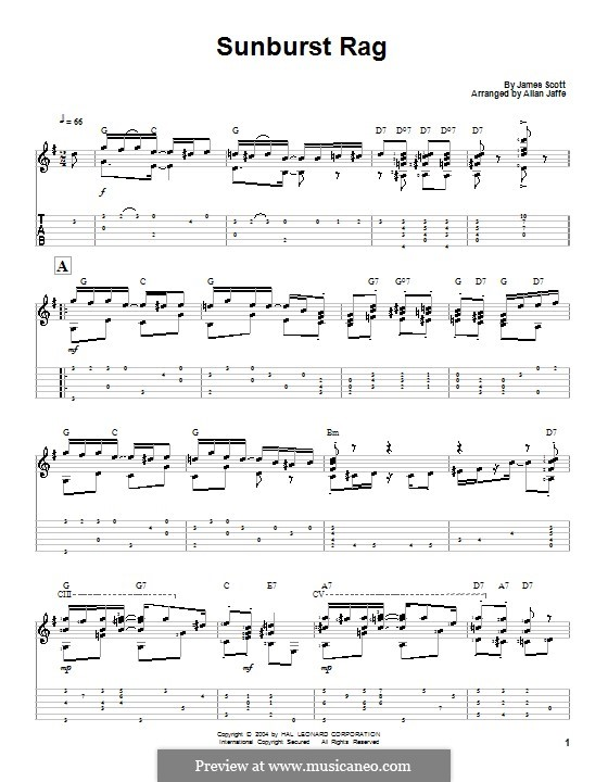 Sunburst Rag: For guitar by James Scott