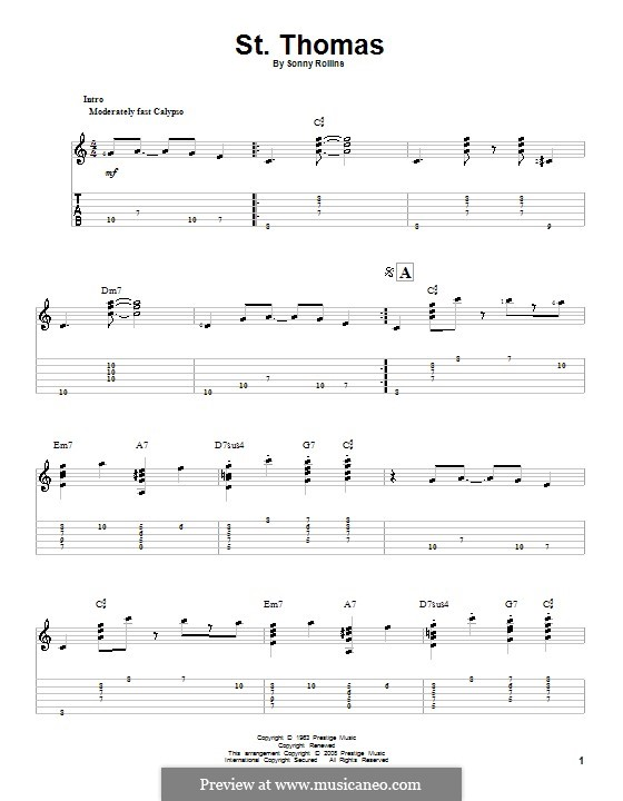 Vocal-instrumental version: For guitar with tab by Sonny Rollins