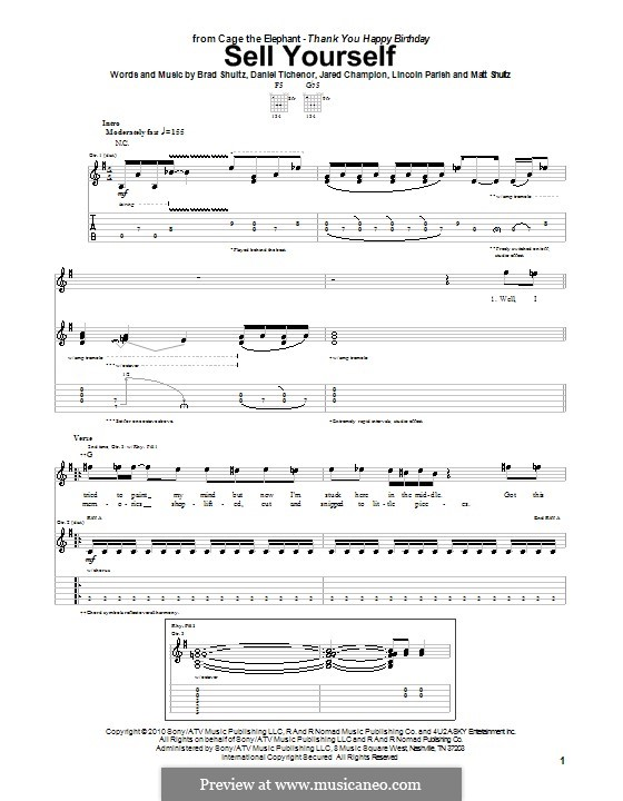 Sell Yourself (Cage the Elephant): For guitar with tab by Brad Shultz, Daniel Tichenor, Jared Champion, Lincoln Parish, Matt Shultz