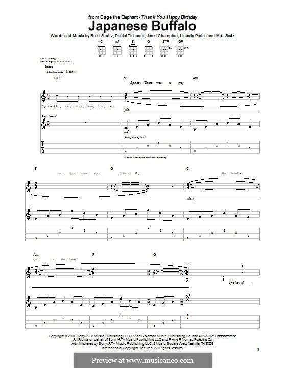 Japanese Buffalo (Cage the Elephant): For guitar with tab by Brad Shultz, Daniel Tichenor, Jared Champion, Lincoln Parish, Matt Shultz