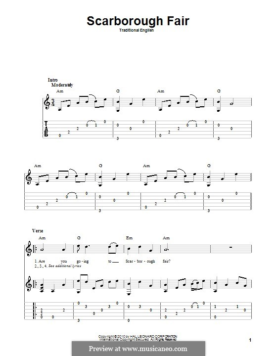 Scarborough Fair: For guitar with tab by folklore