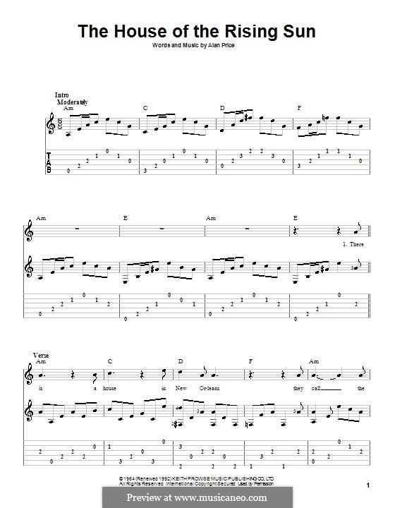 Ukulele ukulele tabs house of the rising sun : The House of the Rising Sun by A. Price - sheet music on MusicaNeo