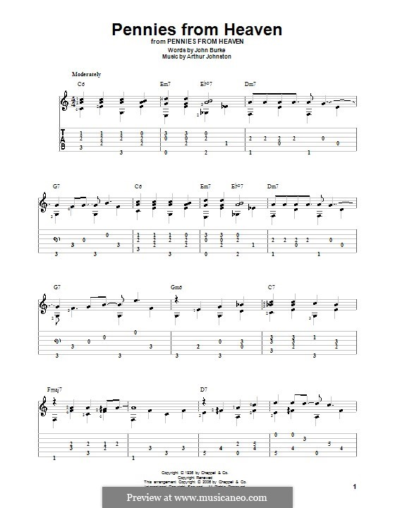 Pennies from Heaven (Bing Crosby): For guitar with tab by Arthur Johnston
