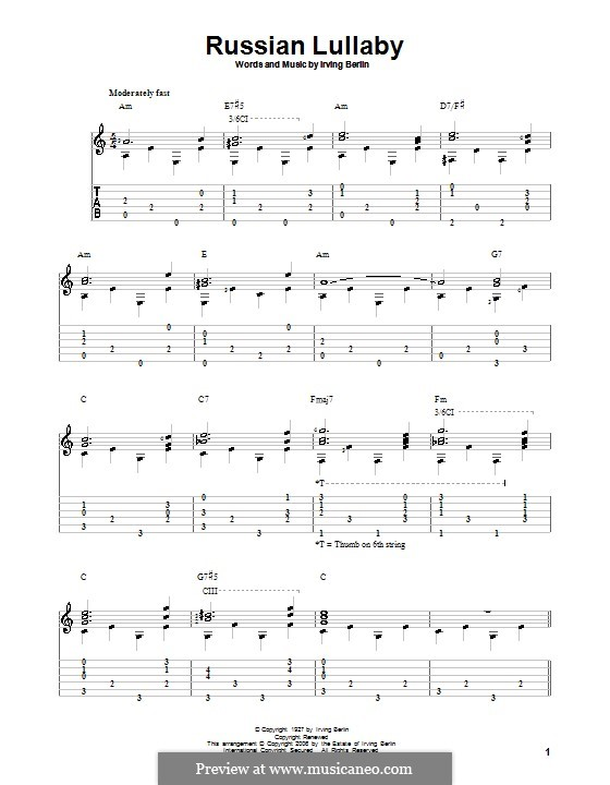 Russian Lullaby: For guitar with tab by Irving Berlin