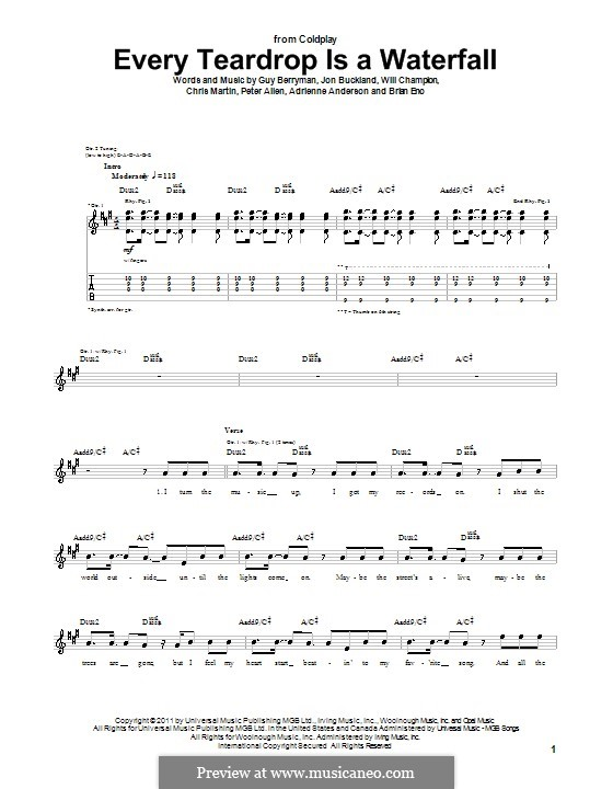 Every Teardrop is a Waterfall (Coldplay): For guitar with tab by Adrienne Anderson, Brian Eno, Chris Martin, Guy Berryman, Jonny Buckland, Peter Allen, Will Champion