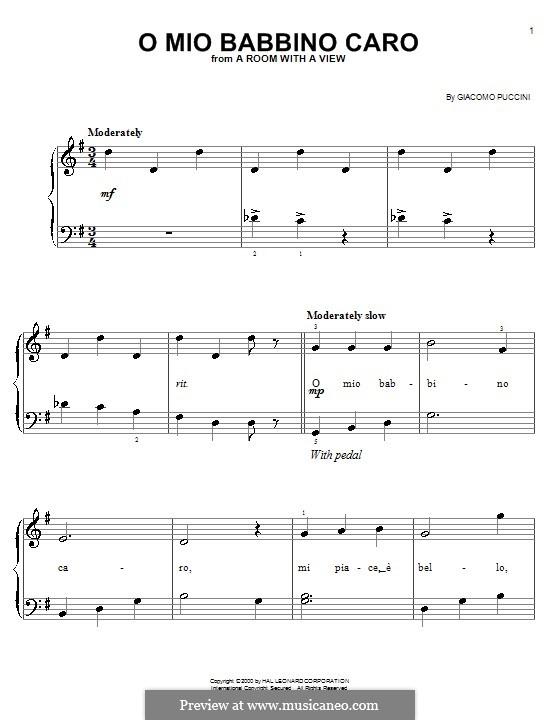 O mio babbino caro: For easy piano by Giacomo Puccini