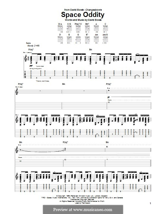 Space Oddity: For guitar with tab by David Bowie