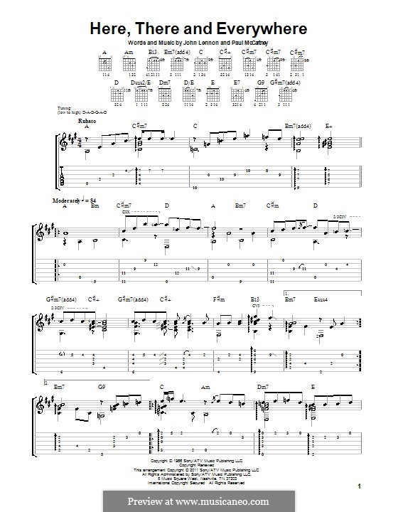 Here, There and Everywhere (The Beatles): For guitar by John Lennon, Paul McCartney