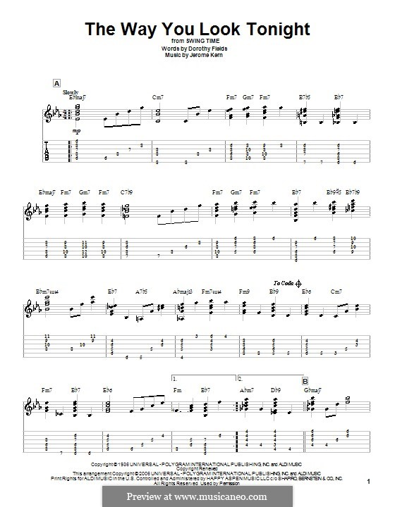 The Way You Look Tonight: For guitar by Jerome Kern