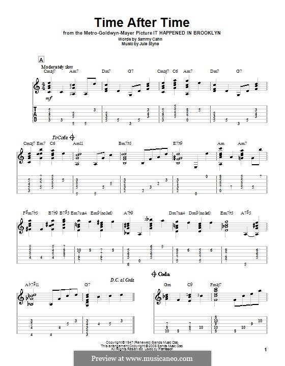 Time After Time (Frank Sinatra): For guitar with tab by Jule Styne