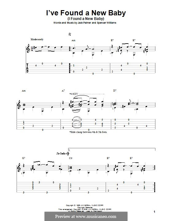 I've Found a New Baby (I Found a New Baby): For guitar with tab by Jack Palmer, Spencer Williams