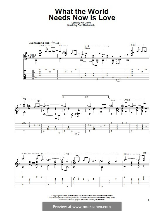 What the World Needs Now Is Love: For guitar with tab by Burt Bacharach