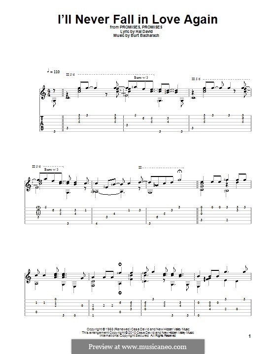 I'll Never Fall in Love Again: For guitar with tab by Burt Bacharach