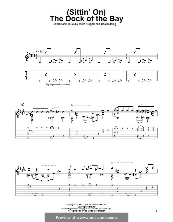 (Sittin' On) The Dock of the Bay: For guitar with tab by Otis Redding, Steve Cropper