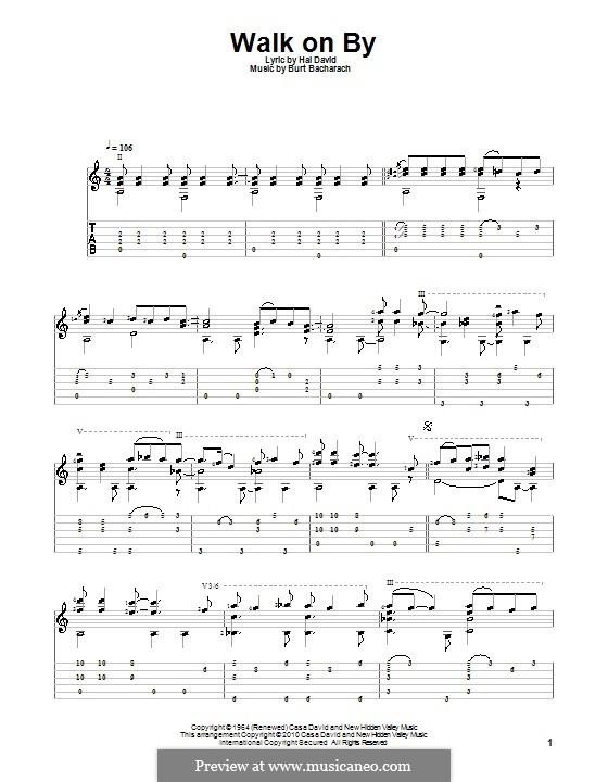 Walk on By: For guitar (Dionne Warwick) by Burt Bacharach