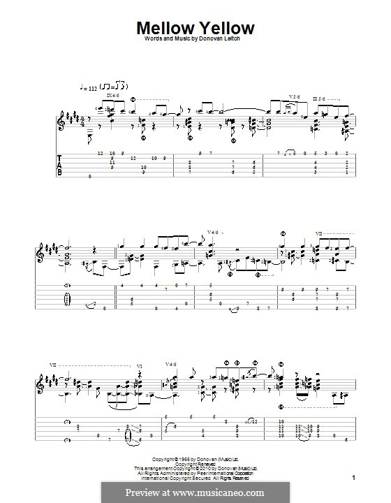 Mellow Yellow: For guitar with tabulature by Donovan Leitch