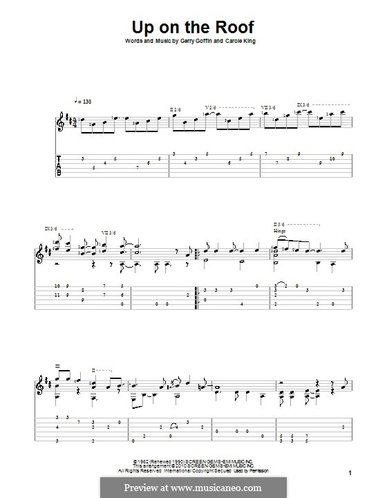 Up on the Roof (The Drifters): For guitar with tab by Carole King, Gerry Goffin