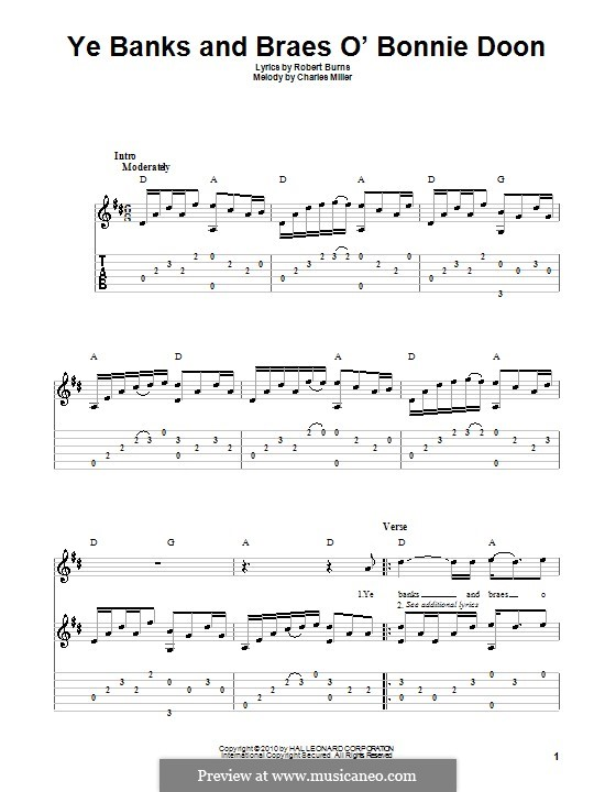 Ye Banks and Braes O' Bonnie Doon: For guitar by Charles Miller