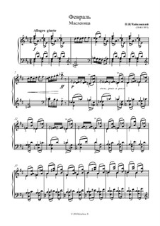 No.2 February (The Carnival): For piano (high quality sheet music) by Pyotr Tchaikovsky