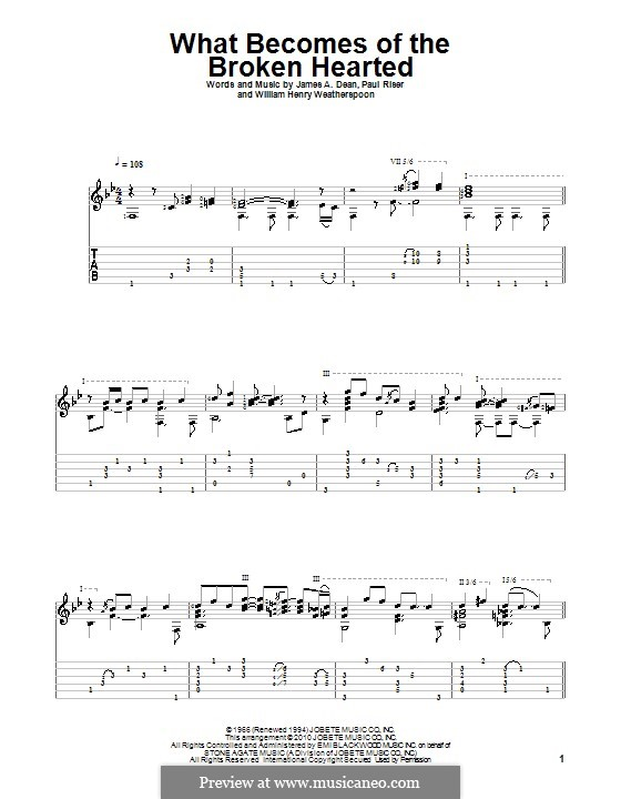 What Becomes of the Broken Hearted (Jimmy Ruffin): For guitar with tab by James A. Dean, Paul Riser, William Henry Weatherspoon