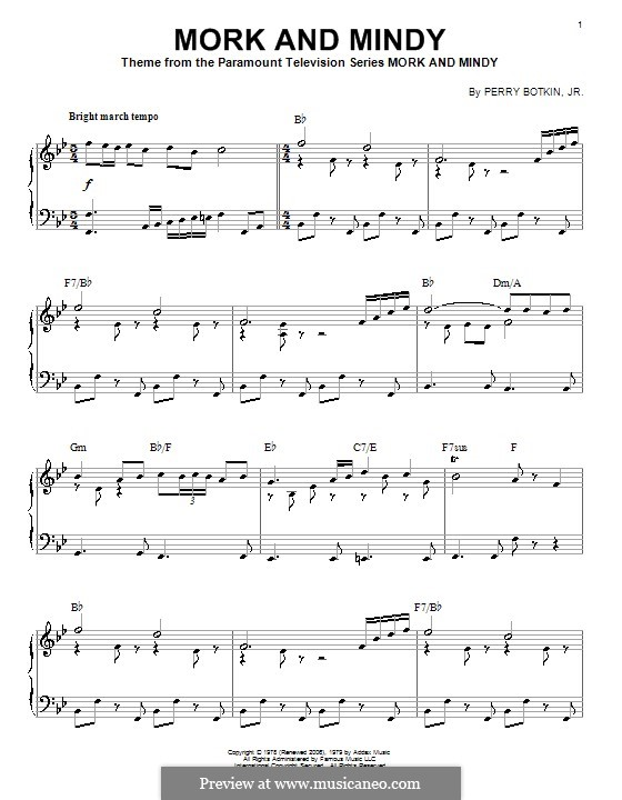 Mork and Mindy: For piano by Perry Botkin Jr.