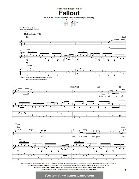 Fallout (Alter Bridge): For guitar with tab by Mark Tremonti, Myles Kennedy
