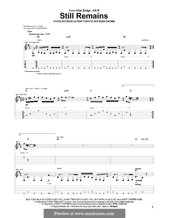 Still Remains (Alter Bridge): For guitar with tab by Mark Tremonti, Myles Kennedy