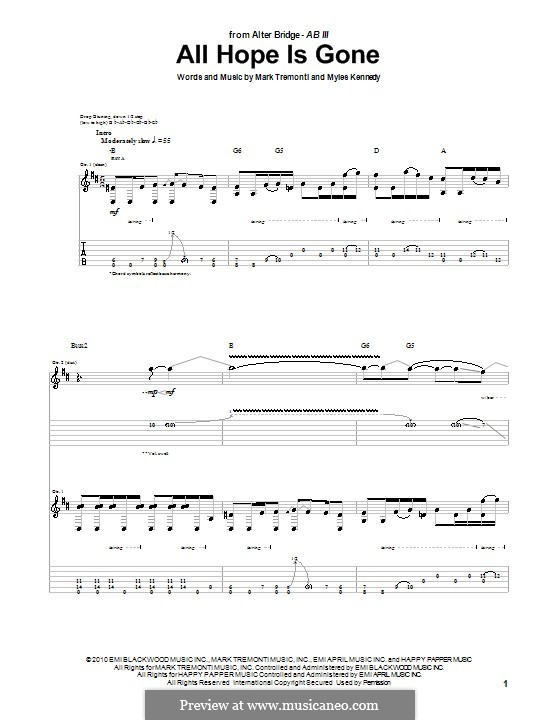All Hope Is Gone (Alter Bridge): For guitar with tab by Mark Tremonti, Myles Kennedy