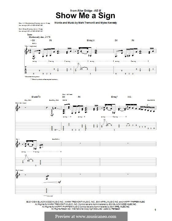 Show Me a Sign (Alter Bridge): For guitar with tab by Mark Tremonti, Myles Kennedy