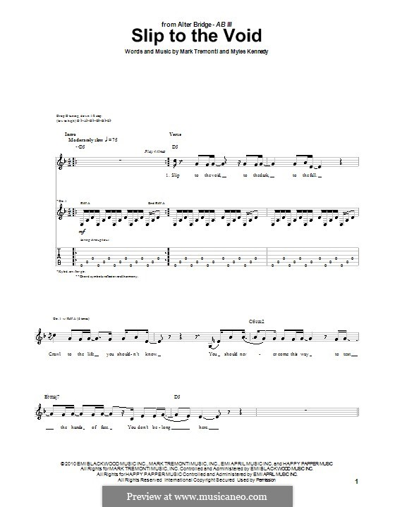 Slip to the Void (Alter Bridge): For guitar with tab by Mark Tremonti, Myles Kennedy