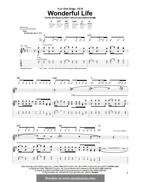 Wonderful Life (Alter Bridge): For guitar with tab by Mark Tremonti, Myles Kennedy