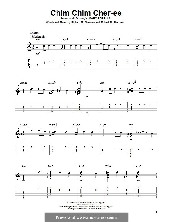 Chim Chim Cher-ee (from Mary Poppins): For guitar by Richard M. Sherman, Robert B. Sherman