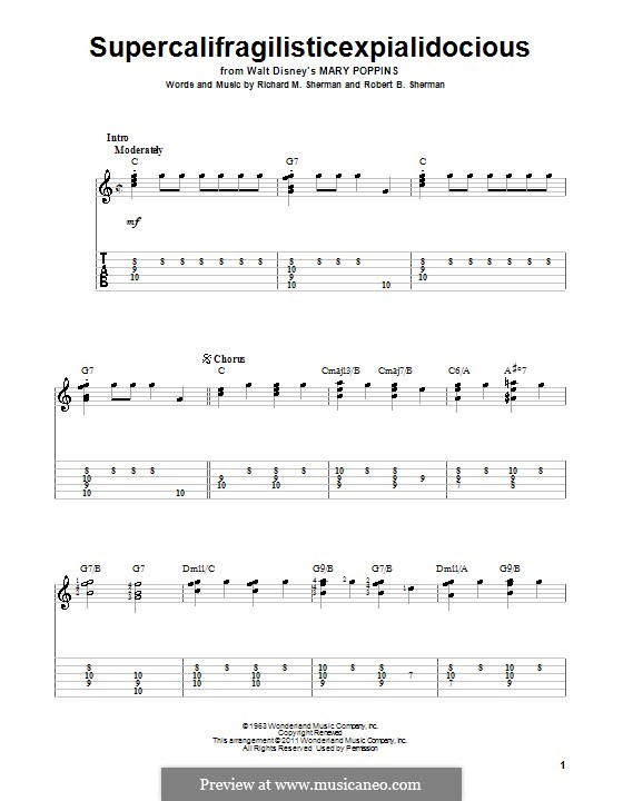 Supercalifragilisticexpialidocious (from Mary Poppins): For guitar by Richard M. Sherman, Robert B. Sherman