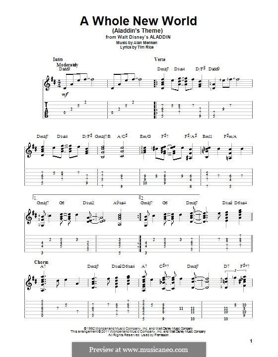 A Whole New World (from Aladdin): For guitar by Alan Menken