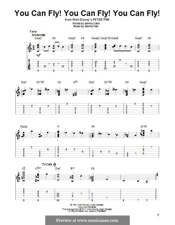 You Can Fly! You Can Fly! You Can Fly!: For guitar with tab by Sammy Fain