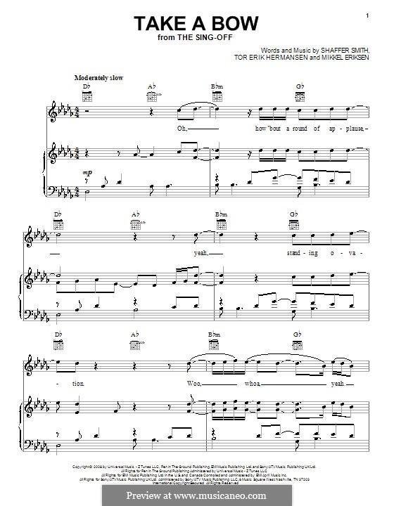 Take a Bow (Rihanna): For voice and piano or guitar (D Flat Major) by Mikkel Storleer Eriksen, Ne-Yo, Tor Erik Hermansen