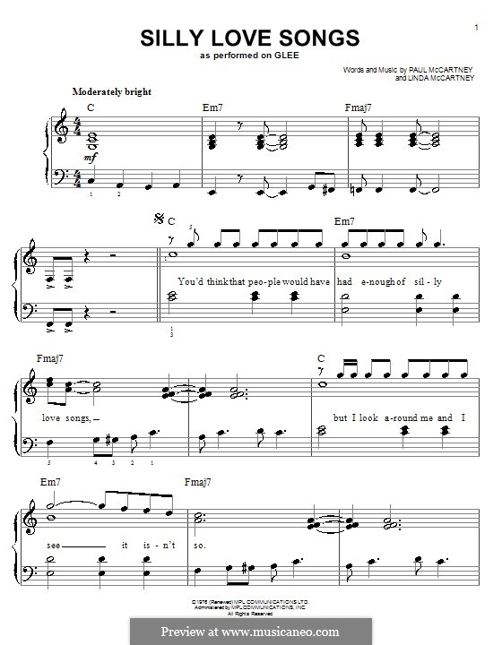 Silly Love Songs (Wings): For easy piano by Linda McCartney, Paul McCartney