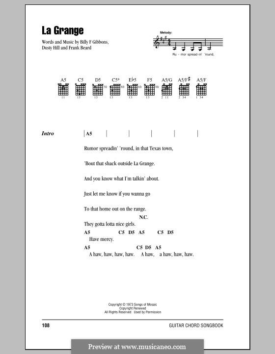 La Grange (ZZ Top): Lyrics and chords by Billy F Gibbons, Dusty Hill, Frank Lee Beard