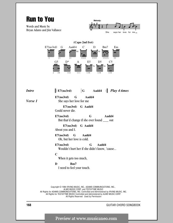 Run To You By J Vallance Sheet Music On Musicaneo